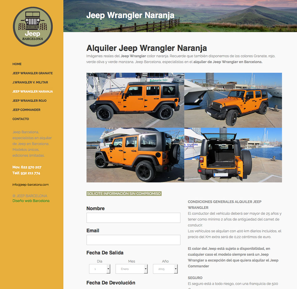 Diseño web alquiler coches
