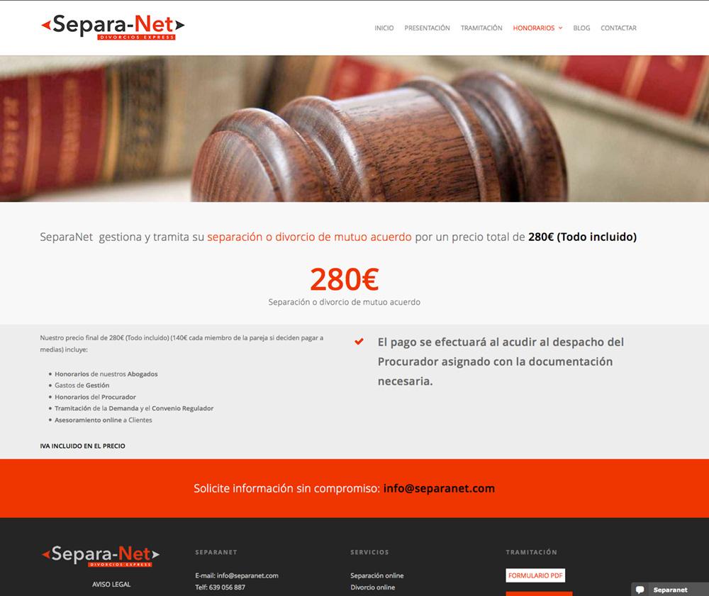 Diseño web e imagen corporativa para el despacho de abogados expertos en divorcios y separaciones online Separanet.