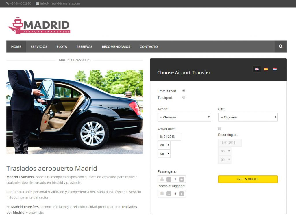 Diseño web transportes Madrid